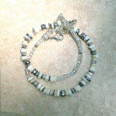 Now selling: White and Silver Necklace, Mother of Pearl and Moonstone, Hardware Necklace https://www.etsy.com/listing/217400878/white-and-silver-necklace-mother-of?utm_campaign=crowdfire&utm_content=crowdfire&utm_medium=social&utm_source=pinterest