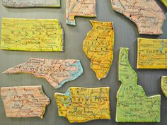 Oklahoma State Map Magnet - Vintage Puzzle Piece