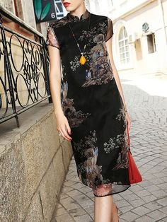 Black Floral Turtleneck Short sleeve Sheath Casual Printed Silk Cheongsam Midi Dress