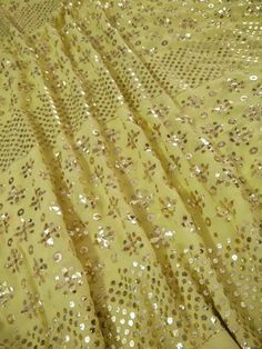 yellow mukaish Saree Pure Georgette Sarees, Cotton Saree, Pakistani Outfits, Indian Outfits, Beaded Embroidery, Hand Embroidery, Lucknowi Suits, Work Sarees, Lehenga Designs
