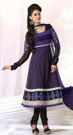 USD 81.96 Purple Silk Resham Work Anarkali Salwar Suit 27442