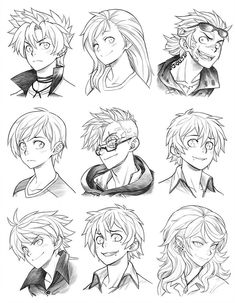 160815 - headshot commissions sketch dump 23 by runshin on deviantart desen Drawing Poses, Manga Drawing, Drawing Sketches, Art Drawings, Drawing Tips, Anatomy Drawing, Drawing Art, Drawing Ideas, Hair Reference