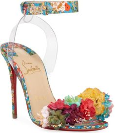 Arielta Floral Red Sole Sandals by Christian Louboutin at Neiman Marcus Stilettos, Stiletto Heels, High Heels, Pretty Shoes, Beautiful Shoes, Red Sandals, Christian Louboutin Heels, Red Sole, Mode Style