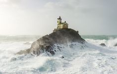These incredible pictures show the abandon lighthouse for 141 years at its most dramatic, with rough waters 65ft high in 87mph winds smashing against the rock it's built on just over three miles from the coast