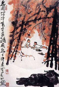 李可染 -《牧牛圖》                             Li Keran (1907-1989) was a renowned contemporary Chinese painter.