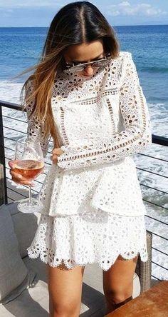 #summer #flirty #outfitideas | White Lace Little Dress