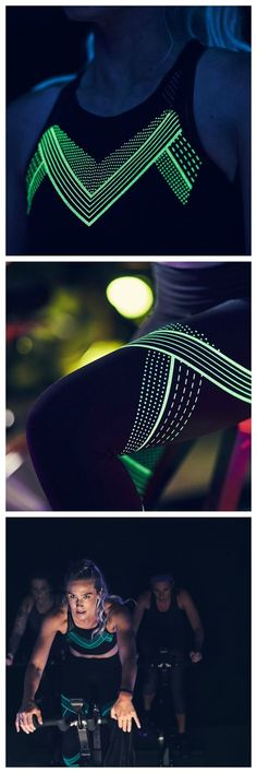 UA Luminous Crop Top and Hi-Rise Legging. Unique, glowing graphics absorb the light so you can stand out even in the dark. Be seen.