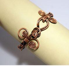 copper bangle jewelry copper wire wrapped Bracelet by BeyhanAkman, $34.00