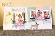 This project will show you how to create a beautiful baby girl scrapbooking layout using the gorgeous pastel papers from the 'Nesting' range. Baby Girl Scrapbook, Baby Scrapbook Pages, 12x12 Scrapbook, Scrapbook Sketches, Scrapbook Page Layouts, Scrapbook Supplies, Hipster Drawings, Easy Drawings, Couple Drawings