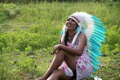 indian headdress medium length green teal feathers by etnikabali