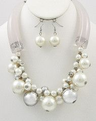 Snow Queen Large Pearl Statement Necklace-$27-Find hot fashion jewellery and statement jewlry at Strike Envy. #jewellery #jewlry