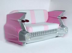 Pink Cadillac Sofa. This would look so much cooler if it wasn't pink. Maybe blue or green would look pretty bad ass, or black!