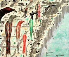 Watching for Buller. Acrylic on canvas. On loan to the Christchurch Art Gallery Te Puna o Waiwhetu from the artist Bill Hammond Large Painting, Artist Painting, Australian Painting, New Zealand Landscape, New Zealand Art, Nz Art, Art Courses, Weird Creatures, Summer Art