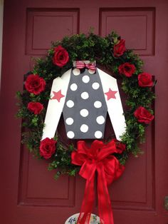 KY Derby wreath with jockey silk cutout by forpetessakepottery, $110.00