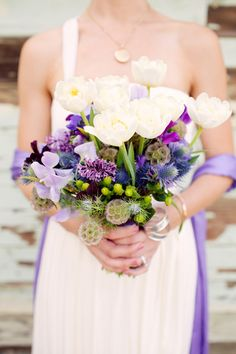 wedding bouquet - pops of purple