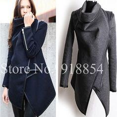 Automne hiver femmes manteau longue fermeture éclair o  full encolure asymétrique couturequalité poches dans  de  sur Aliexpress.com