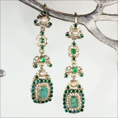 Long Antique Austro-Hungarian Pearl and Emerald Earrings, c. 1900 from vsterling on Ruby Lane