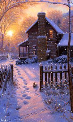 The Fatal Gift of Beauty – Winterbilder Winter Szenen, Winter Cabin, Winter Time, Christmas Paintings, Christmas Art, Vintage Christmas, Winter Christmas Scenes, Holiday, Winter Images