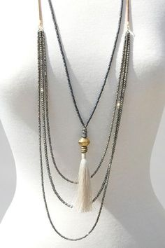 Faceted Onyx African Brass Trading beads Cream Tassel