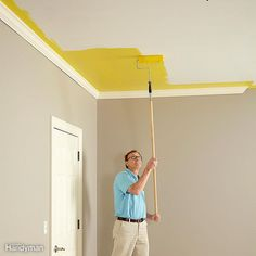 Don't Be Afraid of Color: You may not want to paint your ceiling yellow, but don't be afraid to deviate from plain old white. Painting the ceiling a color can make a small room seem bigger, or a room with a high ceiling seem more intimate. Plus, it's just more interesting. Ask at any full-service paint store for help in choosing complementary wall and ceiling colors, or search online for examples of rooms you like.
