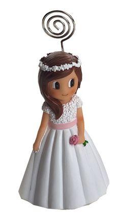Portafotos niña Comunión vestido florecitas