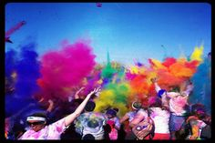 The Color Run is a charity walk/jog/crawl/run that travels around the USA. You start in all white clothing and as you reach each mile you get a different color of magical all natural colored powder thrown on you. By the end you a huge rainbow mess!