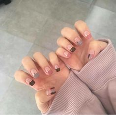 Fall French Manicure Art Designs 51 Ideas For 2019 French Manicure Gel Nails, Gem Nails, Manicure Y Pedicure, Love Nails, Pretty Nails, Hair And Nails, Manicure Ideas, Korean Nail Art, Korean Nails