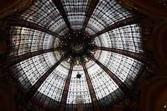 The ceiling - Galleries Lafayette in Paris Paris France, Paris Paris, Galeries Lafayette, Lafayette Paris, Roof Lantern, Commerce, Belle Epoque, Architecture, Looking Up