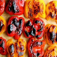 Did you know how easy it is to roast peppers? You'll never buy the jarred ones again. Spritz with olive oil, roast in a 450 degree oven for 30-40 minutes or until skin is charred and blistered, let sit in a paper bag for 20 minutes, and then remove the skins!