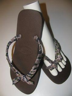f1b8ad692eab HAVAIANAS Flip Flops - Brown - CAMO Fabric - Sizes 4 - 13 on Etsy