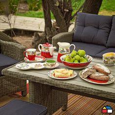 #Vajilla granel Coral Fresh #terraza #jardin #rojo