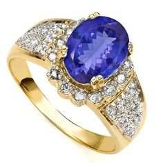 GLAMOROUS 1.39 CARAT TW (62 PCS) GENUINE DIAMOND & GENUINE TANZANITE 14K SOLID YELLOW GOLD RING