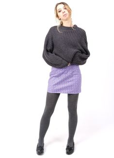 Sixties style 'Flower Power' purple floral mini skirt UK handmade by The Emperor's Old Clothes. Sustainable fashion skirts for women. Grey Leggings Outfit, Grey Tights, Wool Tights, Grey Outfit, Cozy Fashion, Skirt Fashion, Purple Outfits, Fall Outfits
