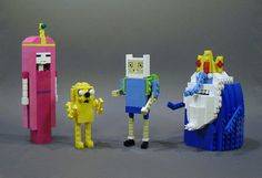 Adventure Time Lego - Bubblegum Princess, Jake, Finn, and the Ice King. Lego Adventure Time, Adventure Time Characters, Legos, Lego Sculptures, Jake The Dogs, Ice King, Cool Lego Creations, Lego Worlds, Everything Is Awesome