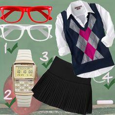 white shirt, black pleated skirt, Argyle Sweater Vest