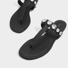 Black Embellished Thongs |CHARLES & KEITH