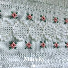 White Embroidery, Bargello, Macrame, Embroidery Designs, Needlework, Stitch, Knitting, Bath Towels & Washcloths, Hand Towels