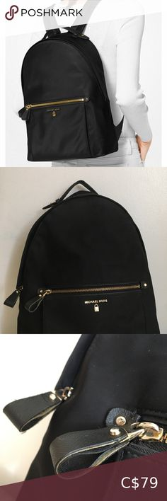 Michael Kors Kelsey Nylon Backpack 8/10 condition Some unnoticeable broken leather trim Minor stain on the side and bottom  Purchase on PayPal/ Depop @yiciscloset for $5 shipping Michael Kors Bags Backpacks Messenger Backpack, Studded Backpack, Small Backpack, Leather Backpack, Michael Kors Gold, Michael Kors Bag, Michael Kors Mini Backpack, Black Tube Tops, Summer Cardigan