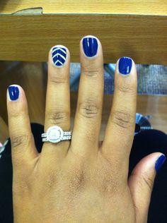 Air Force inspired nails engagement ring and wedding band Thanksgiving Nail Designs, Thanksgiving Nails, Christmas Nail Designs, Fall Nail Designs, Acrylic Nail Designs, Thanksgiving Ideas, Summer Toe Nails, Spring Nails, Blue And Silver Nails