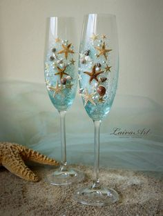 Beach Wedding Champagne Flutes Wedding Champagne Glasses Wedding Toasting Flutes Set of 2 Beautiful pair of two beach wedding champagne flutes are hand painte