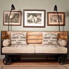 sillón estilo industrial hierro y madera 3 cuerpos