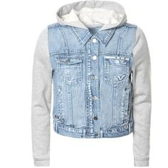 Denim Jackets For Women With Hood Hooded Jean Jackets, Hooded Jacket, Denim Jackets, Outerwear Jackets, Divas, Diy Tops, Blue Jean Jacket, Cotton Jacket, Fleece Hoodie