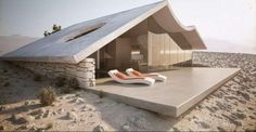 Imagine a desert tiny home with a wraparound view, heated and protected by the sand.  Studio Aiko ha ...