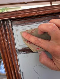 Use a fine sanding sponge to lightly distress paint. Metallic Painted Furniture, Painting Old Furniture, Diy Painting, Cool Furniture, Garden Furniture, Furniture Ideas, Painting Steps, Steel Furniture, Distressing Chalk Paint
