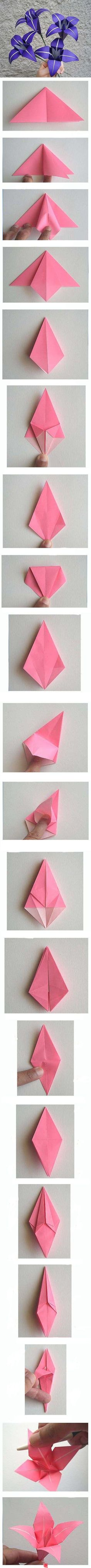 I actually know how to fold these n made a flower ball with them… Origami lilies. I actually know how to fold these n made a flower ball with them. Very beautiful paper flower Diy Origami, Origami And Kirigami, Origami Tutorial, Origami Paper, Diy Paper, Paper Art, Paper Crafts, Oragami, Origami Ideas