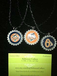Baltimore Oriole bottle cap necklace by BaltimoreCrafters on Etsy, $6.99