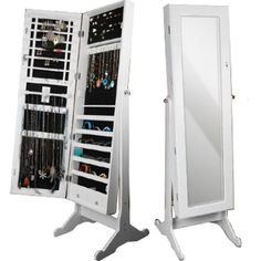 Mirror Jewelry Armoire White ALICE Q3 I totally need one of these!
