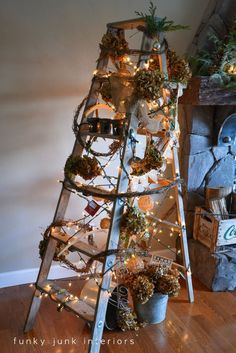 A treeless ladder Christmas tree - Day 10 - Funky Junk Interiors Ladder Christmas Tree, Unique Christmas Trees, Alternative Christmas Tree, Noel Christmas, Country Christmas, All Things Christmas, Winter Christmas, Christmas Crafts, Christmas Decorations