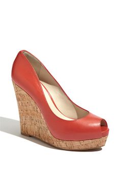 Nine West 'Linger' Wedge in Coral Blush Leather $89.95
