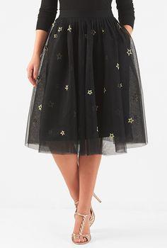 #Star #embellished #tulle #skirt #eShakti